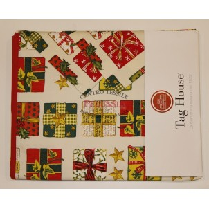 Tag House Tovaglia di Natale Rettangolare 150x220 Pacchetti con tovaglioli