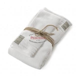Asciugamani Coccola Fazzini set 1+1 in spugna - A Bianco