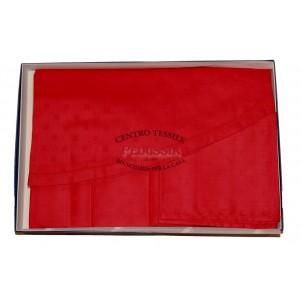 Tag House Tovaglia Ovale 180x270 con tovaglioli Rossa